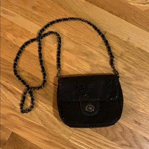 The Limited Black Faux Snakeskin Chain Crossbody